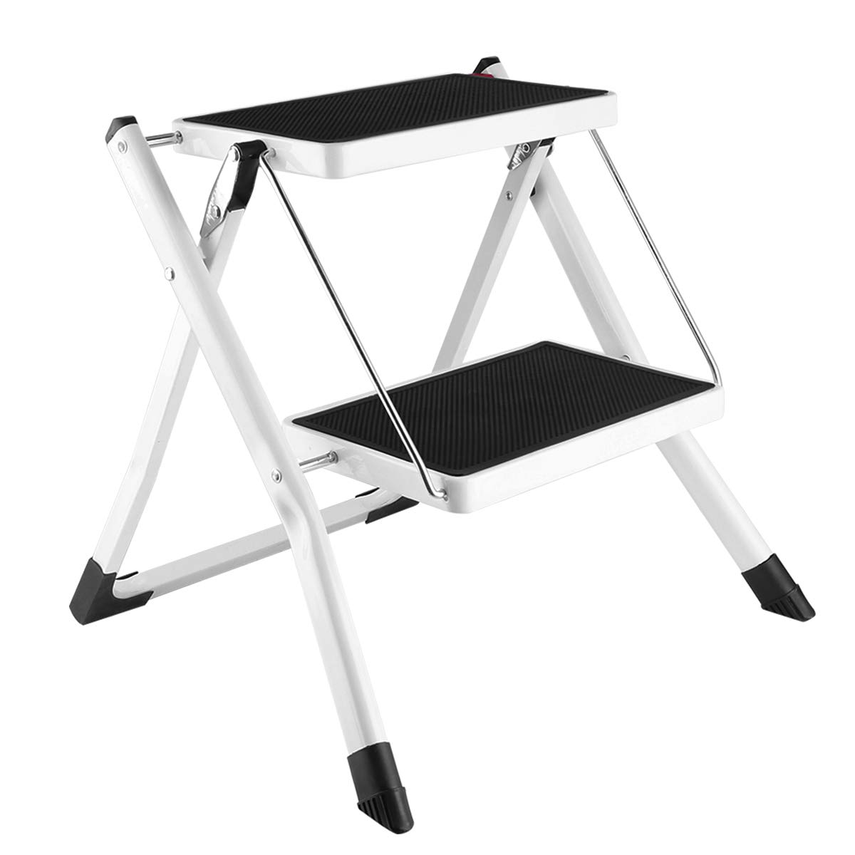 Gimify 2 Step Stool Folding Step Ladder Mini Steel Stepladders Anti Slip Sturdy Steps Wide Pedal With Portable Handle Lightweight For Home Kitchen Office 250 Lbs