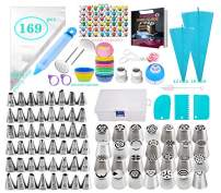Adocfan Cake Decorating Supplies Kit - Baking Tools - Pastry DIY Accessories - 76 Numbered Icing Tips - Russian Piping Nozzles - With E-book & Storage Box - For Beginner & Baking Lovers (169PCS)