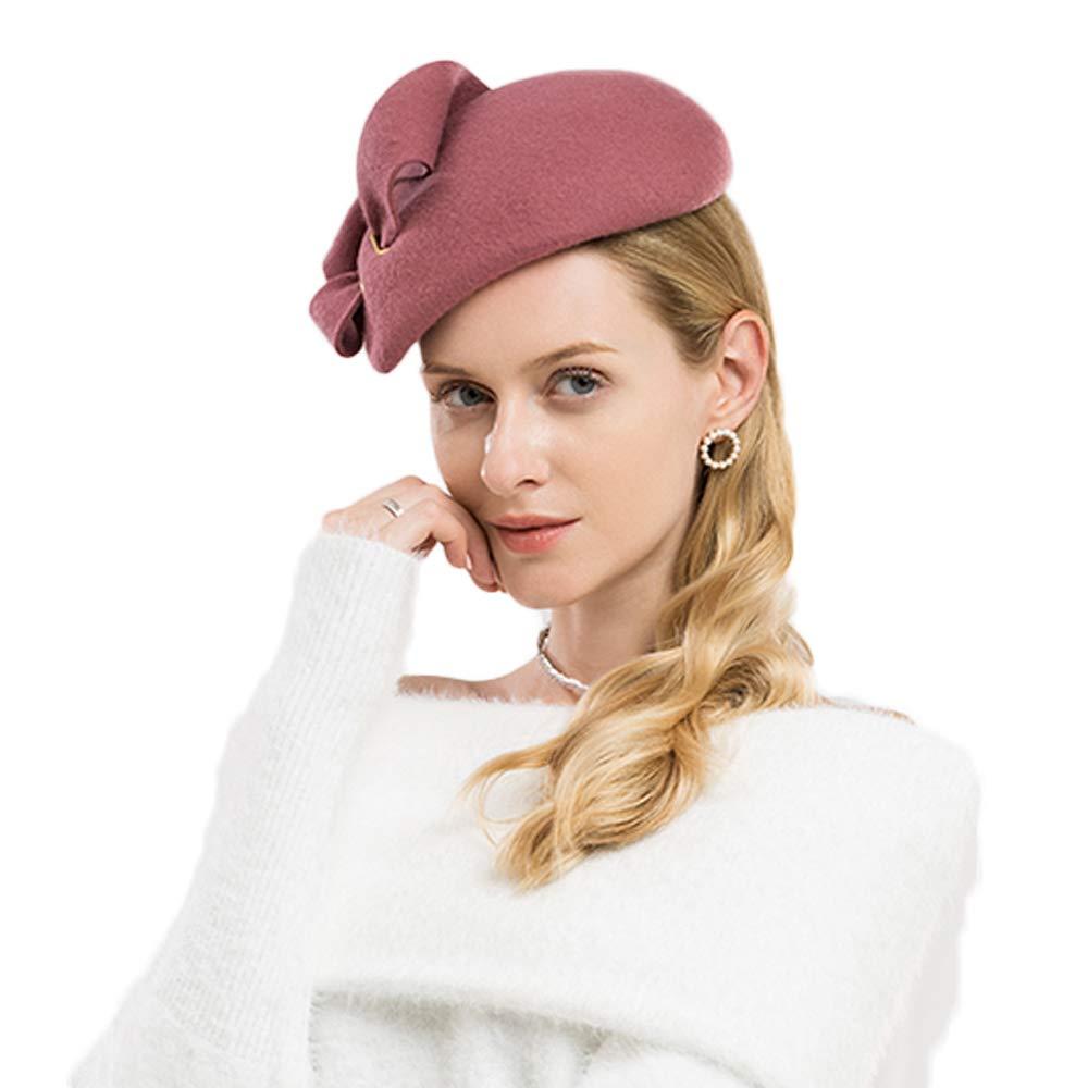 F FADVES Women Wool Derby Hat for Women Pillbox Hat Wedding Hats Felt Bowknot Fascinators