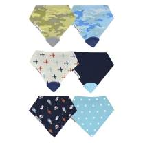 Drool Bibs w/Teethers for Natural Teething Relief, Bazzle Baby BPA-Free Silicone Teether Bandana Bibs, Boy Baby Bibs, 3 to 24 Months, Cotton & Fleece Soak Up Drool, 4 Teether Bibs & 2 Bandana Bibs