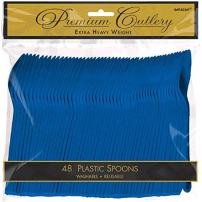 Amscan 8011.1049999999996 Premium Heavy Weight Plastic Spoons, 9 x 9.2, Bright Royal Blue