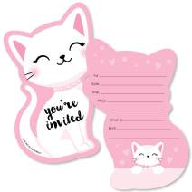 Big Dot of Happiness Purr-fect Kitty Cat - Shaped Fill-in Invitations - Kitten Meow Baby Shower or Birthday Party Invitation Cards with Envelopes - Set of 12