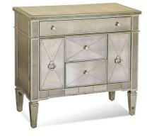 Bassett Mirror Borghese Mirrored Library Commode, 36Lx19Wx35H, Silver Leaf