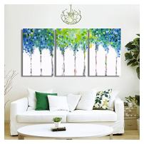 "wall26 - 3 Piece Canvas Wall Art - Abstact Blue Trees - Oil Painting Style Modern Home Decor - 16""x24""x3 Panels"