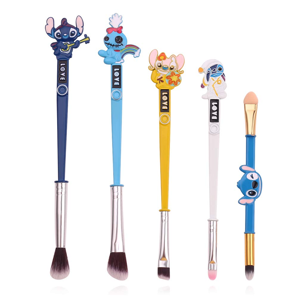 Interstellar Baby Makeup Brushes Set - 5Pcs Creative Stitch Theme Cosmetic Brushes Set, Premium Synthetic Foundation Eye Shadow Brush Set Best Gift for Young Girl Women (colorful)
