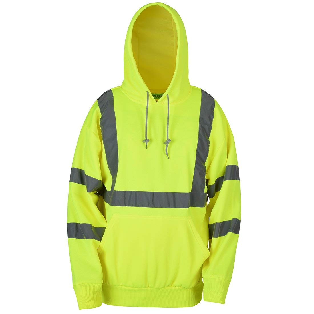 SHORFUNE High Visibility Sweatshirt with Pocket and Reflective Strips, Yellow, Meets ANSI/ISEA Standards, XL