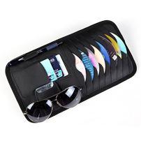 HitCar Car CD DVD Holder Disc PU Leather Storage Case Sunglasses Organizer Sun Visor Sunshade Sleeve Wallet Clips in Black Color