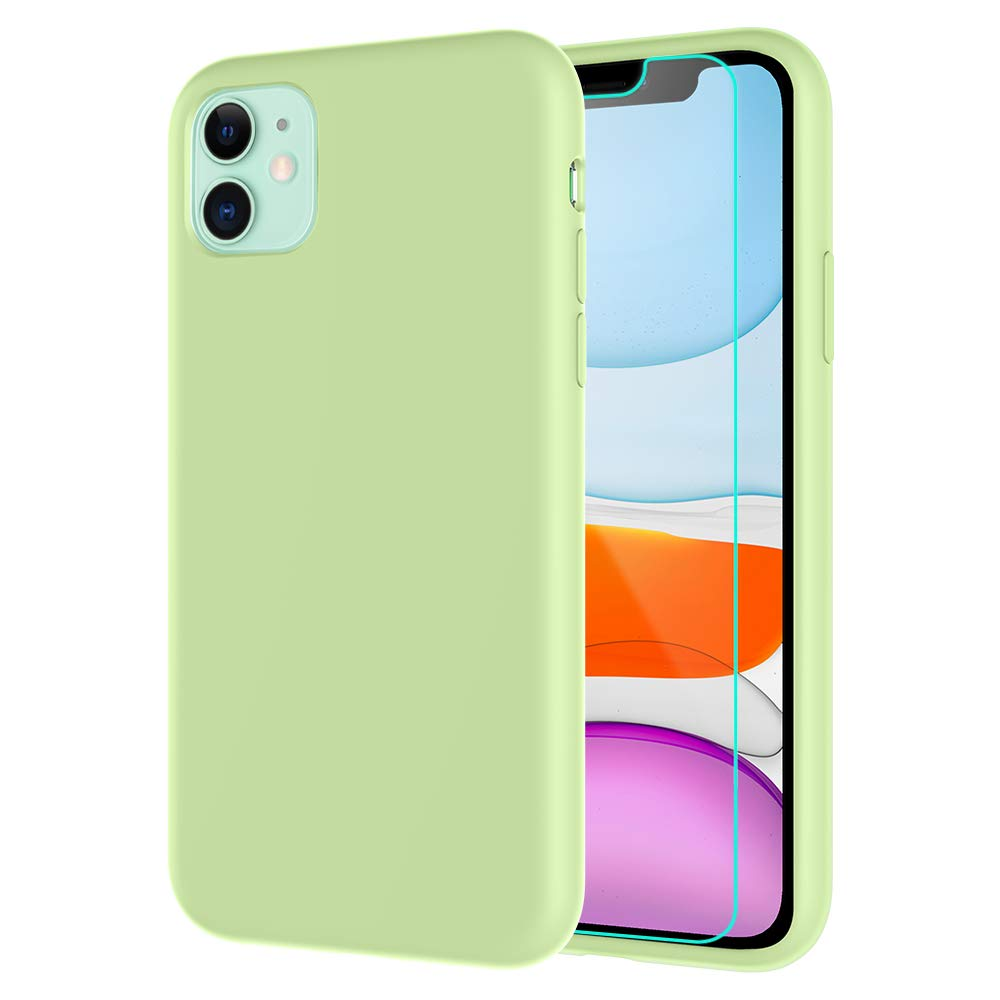 Caka Silicone Case for iPhone 11 Liquid Silicone Case Soft Protective Shockproof Microfiber Lining Gel Rubber Anti Scratch Case for iPhone 11 (6.1 inch)(2019 Release)(Matcha Green)