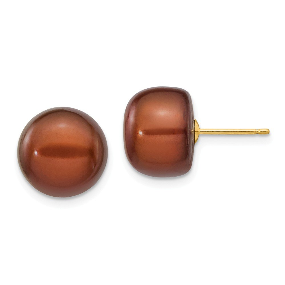 14k Yellow Gold 12mm Coffee Button Freshwater Cultured Pearl Stud Post Earrings Ball Fine Jewelry For Women Gifts For Her