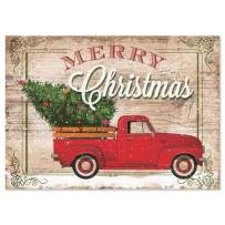 """Red Truck Christmas Cards - Holiday Greeting Cards, Set of 18, Large 5"""" x 7"""", Sentiments Inside, Envelopes Included"""