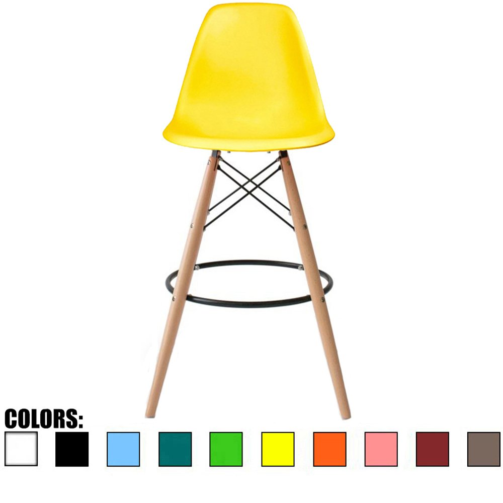 """2xhome Eiffel Style Modern Mid Century Armless With Back Bar Stool Height Counter Chair With Natural Wood Legs, 28"""", Yellow,1 piece"""
