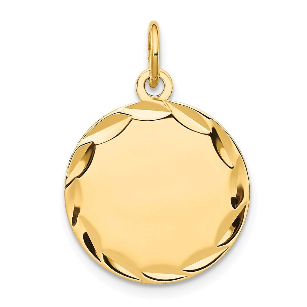 14k Yellow Gold Etched .018 Gauge Engravable Round Disc Pendant Charm Necklace Fine Mothers Day Jewelry For Women Gifts For Her