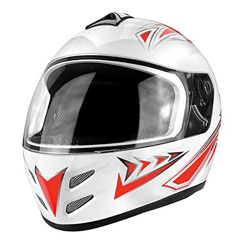 DOT Motorcycle Helmet Full Face Gloss White & Red