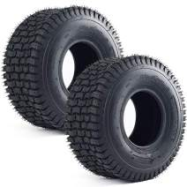 LotFancy 2PCS 15x6.00-6 tire, Turf Tubeless Tire Replacement for Lawn Tractor Riding Lawn Mower Golf Cart, 4 Ply Rated, Tire Only