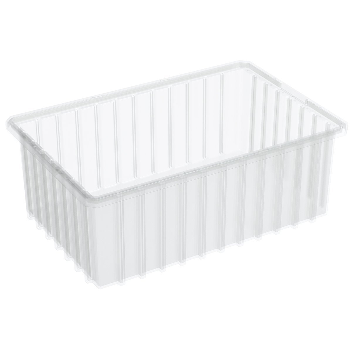 Akro-Mils 33166 16-1/2-InchL by 10-7/8-Inch W by 6-Inch H Clear Akro-Grid Slotted Divider Plastic Tote Box, 8-Pack