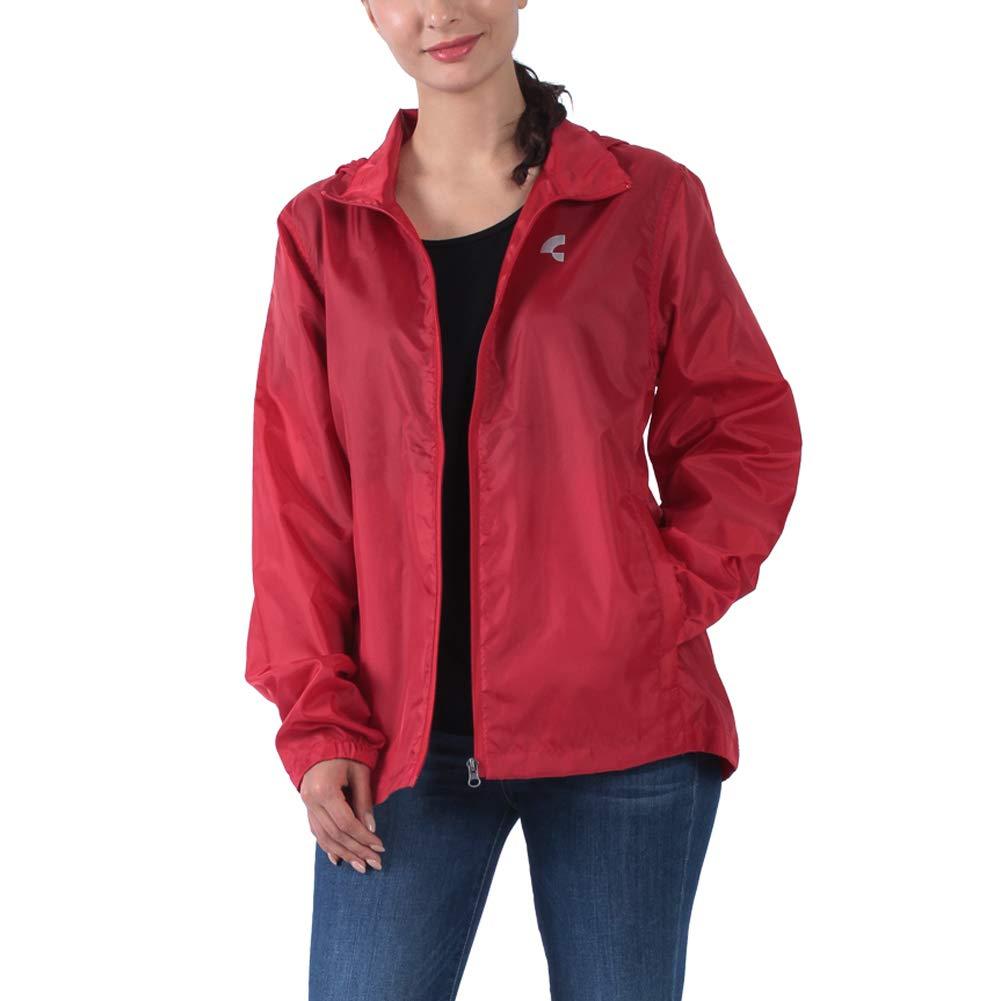 Common District Womens Waterproof Lightweight Rain Jacket Active Outdoor Hideaway Hooded Raincoat XS-4XL