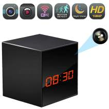 WiFi Hidden Clock Camera, Wireless Nanny Spy Cam with Alarm Clock, Night Vision, Motion Detection, App Control & Remote Viewing for Home/Office Security