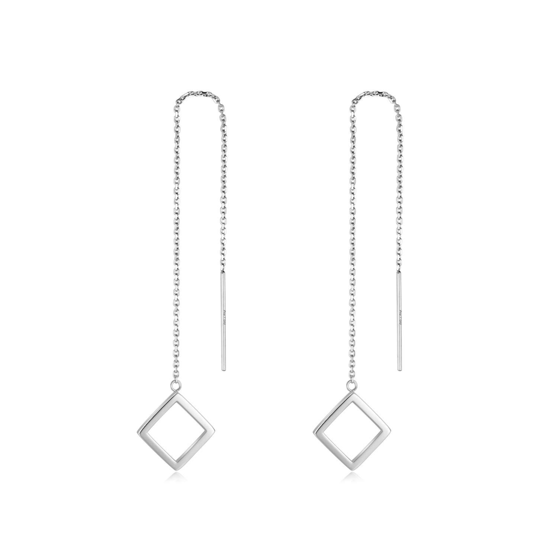 18k Gold Square Hoop Earrings for Women, Real Gold Threader Earrings, White Gold Dangle Earrings Long Chain