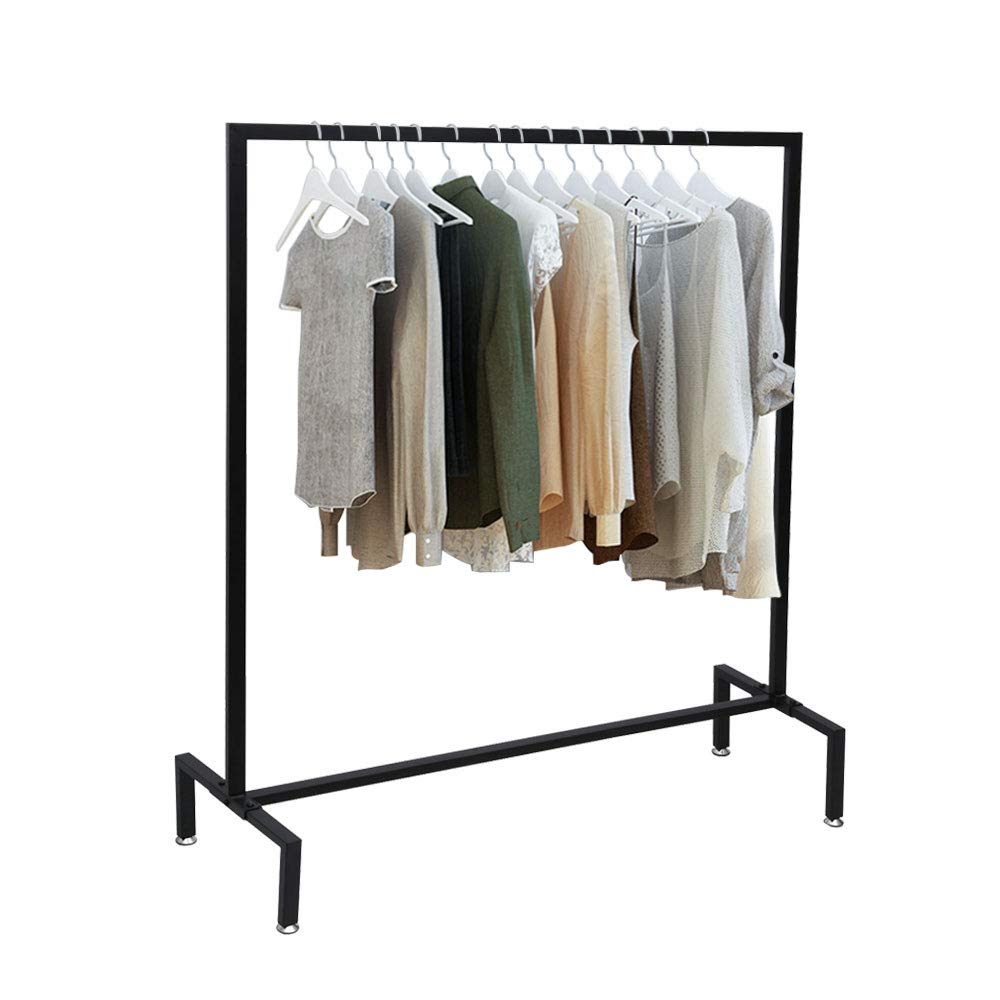 """OROPY Square Tube Garment Rack Free Standing, Heavy Duty Detachable Clothes Rail with 4 Stable Feet for Clothing Storage Display, Black, 44.4"""" Length × 55"""" Height"""