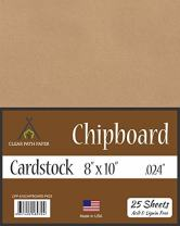 """Chipboard - 8 x 10 inch - .024"""" Thick - 25 Sheets"""