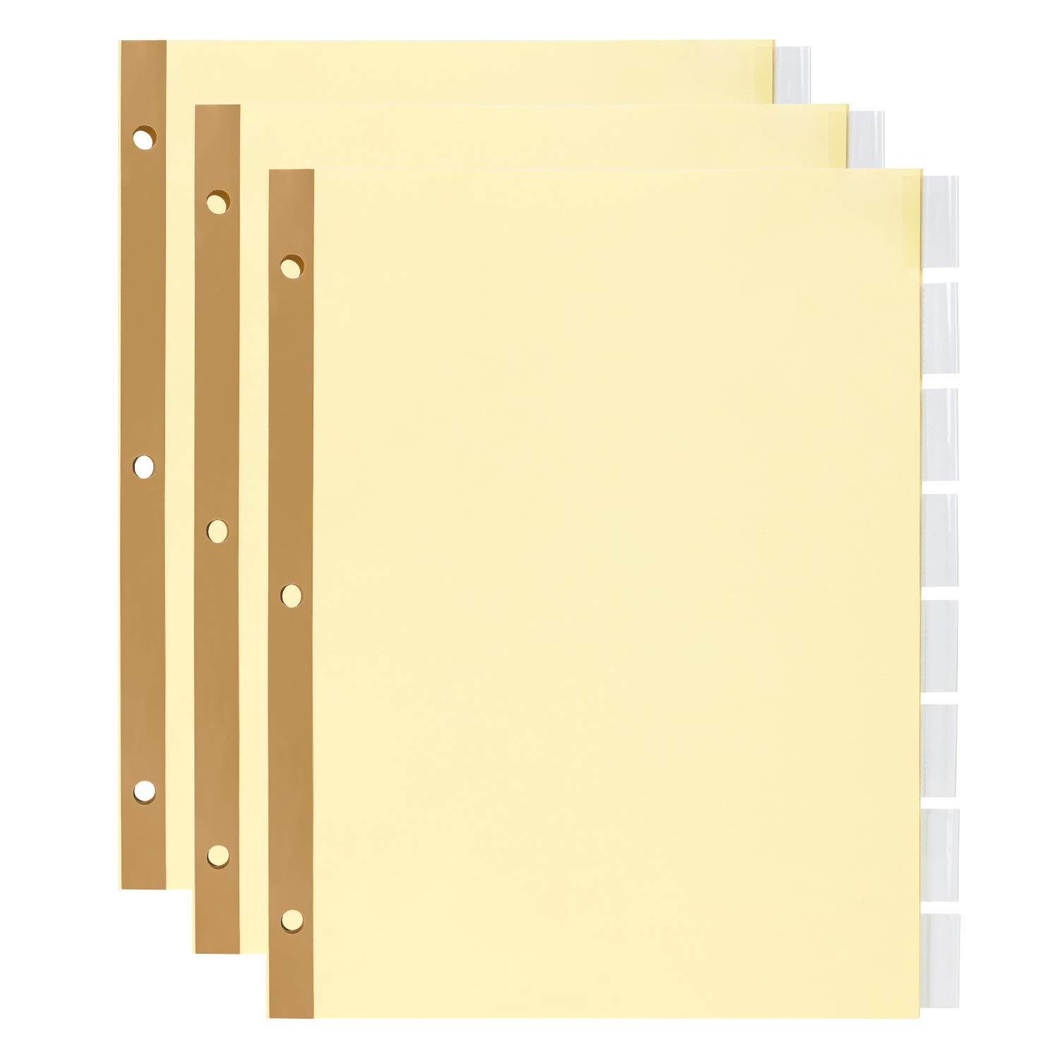 Amazon Basics 8-Tab Binder Dividers, Insertable Clear Tabs, 3 Sets