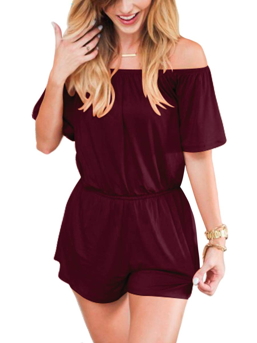 ANRABESS Women Summer Casual Off Shoulder Short Sleeve Loose Rompers Jumpsuit with Pockets