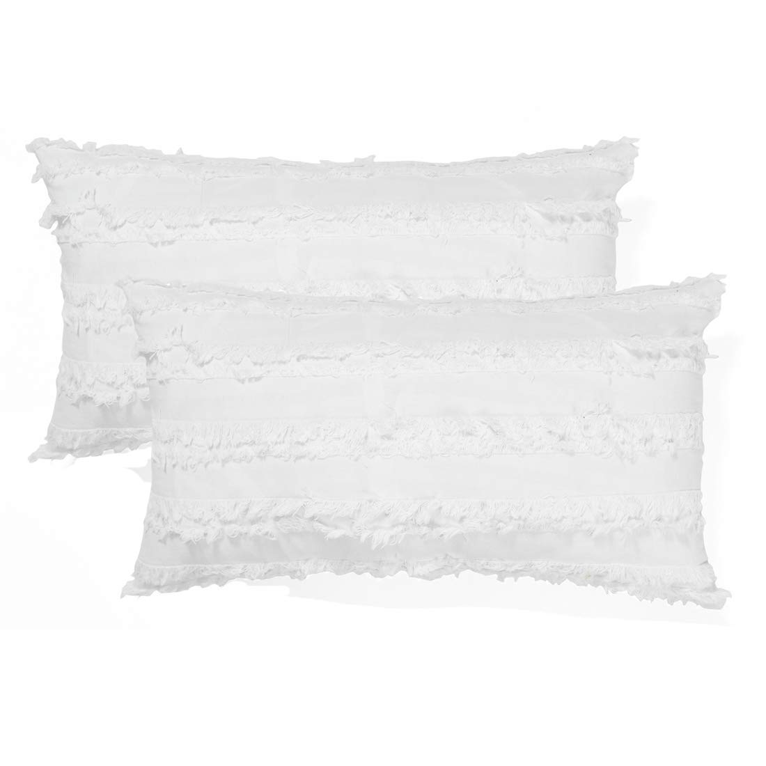 Cozy Lumbar Oblong Rectangle Throw Pillow Cover, Modern Fringe Cushion Covers for Couch Bed Sofa, Farmhouse Home Decor Neutral Pillow Cases, 12 x 20 Inches, Pack of 2, White