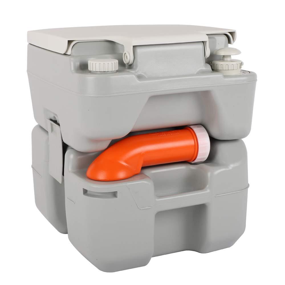 VINGLI Portable 5.3 Gallon Flushing Camping Toilet w/Carrying Bag, Splash-Free Dumping, Anti-Leak Water Pump, Large Capacity Waste Tank for RV/Boat/Truck