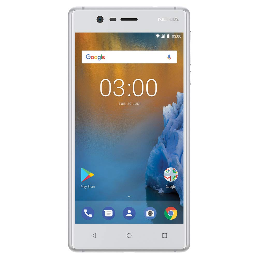 "Nokia 3 - Android 9.0 Pie - 16 GB - Dual Sim Unlocked Smartphone (AT&T/T-Mobile/Metropcs/Cricket/Mint) - 5.0"" HD Screen - White"