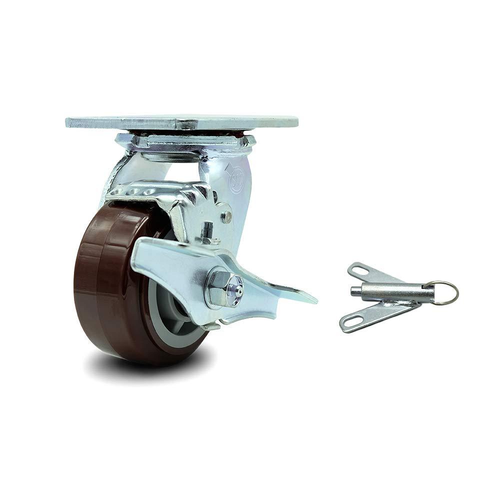 "4"" Polyurethane on Polyolefin Wheel Swivel Caster w/Top Lock Brake & Bolt on Swivel Lock - 500 lbs/Caster - Service Caster Brand"