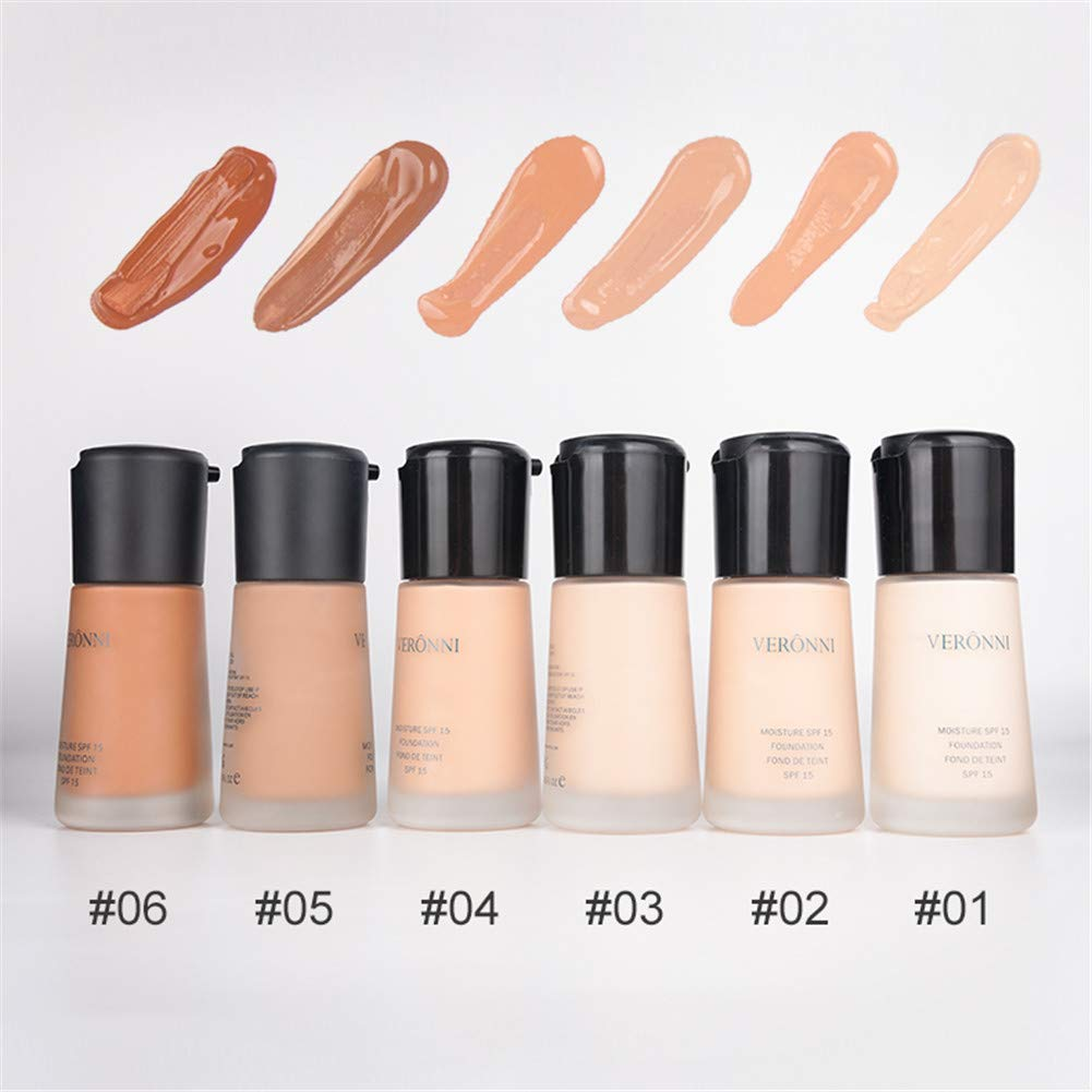 VERONNI Full Coverage Liquid Foundation Face Skin Smooth Cosmetic Makeup Base with Pump 24 Hour Long Time Wear Natural Foundation 30ml/1.0USFL OZ (#06)