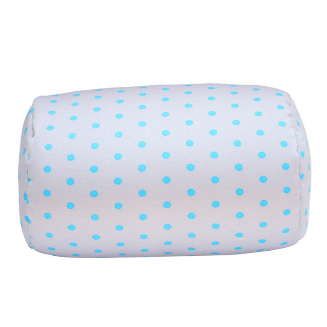 """Bookishbunny Home Office Chair Car Seat Cushion Micro Bead Roll Pillow 7"""" x 12"""" Head Neck Back Body Comfort (Blue Dot)"""