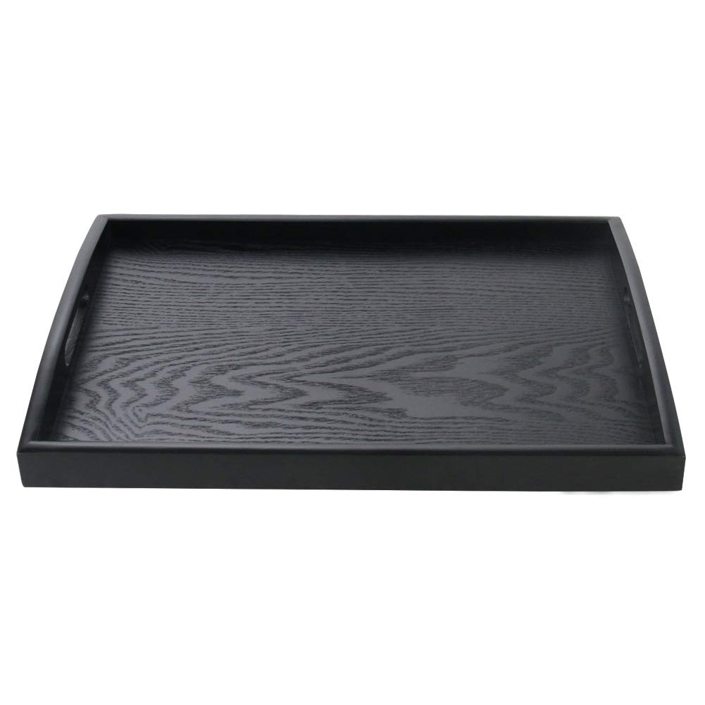SILILUN Wooden Tray Rectangular Serving Tray Breakfast Serving Tray Wood Display Stand Nature Manchurian Ash Wood Food Tray (Small)