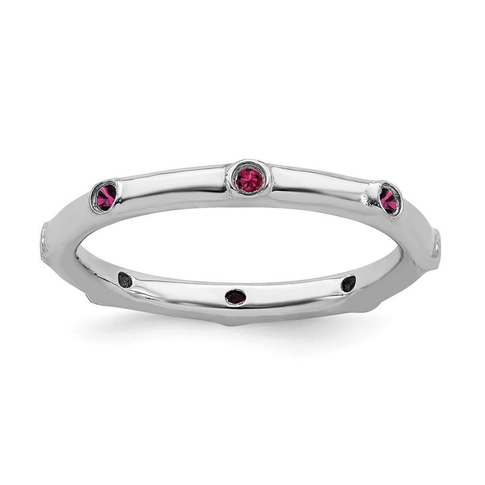 925 Sterling Silver Created Red Ruby Band Ring Stone Stackable Gemstone Birthstone July Fine Mothers Day Jewelry For Women Gifts For Her