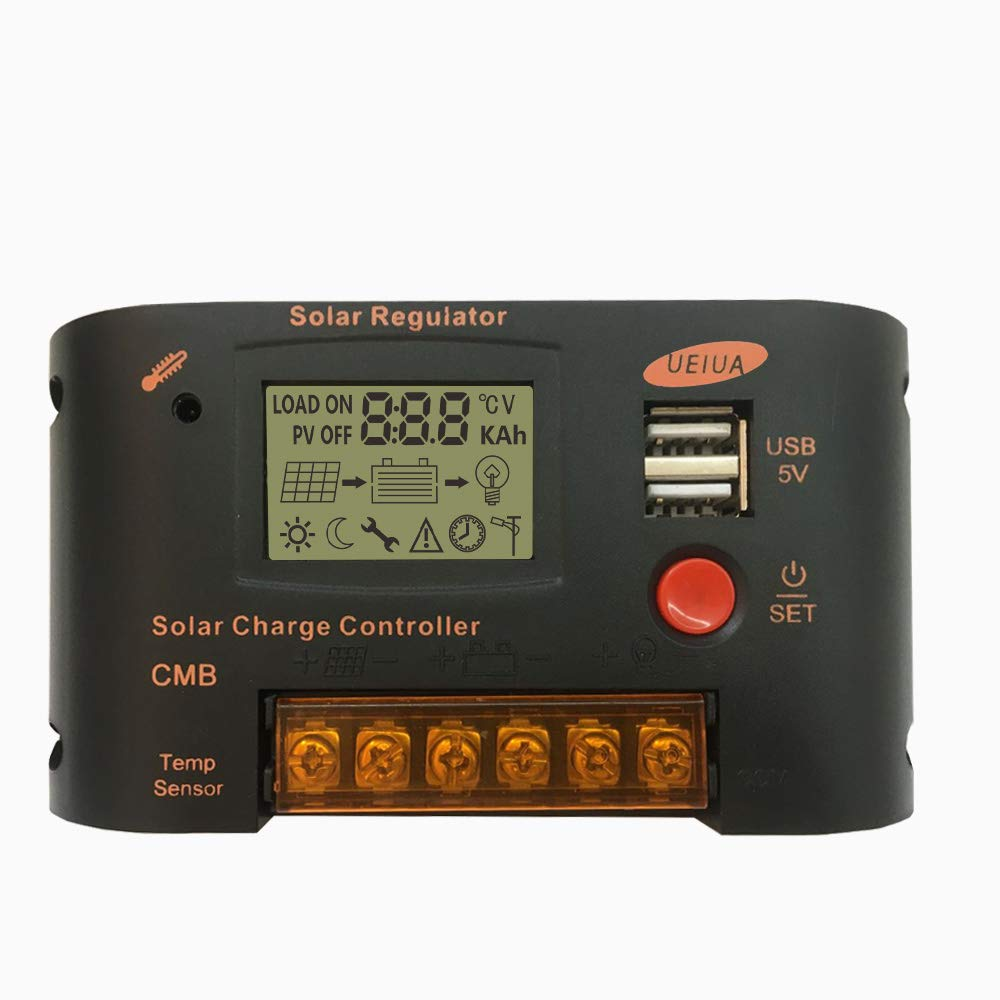 PowMr Solar Charge Controller, Lithium 12V 24V AUTO with Dual USB Intelligent Protection Regulator fit for 12V 24V Lead Acid and Li Battery