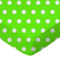 SheetWorld Fitted Portable / Mini Crib Sheet - Polka Dots Lime - Made In USA