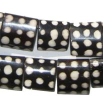 Batik Bone Beads - Full Strand of Fair Trade African Beads - The Bead Chest (Rectangle, Polka Dot Design)