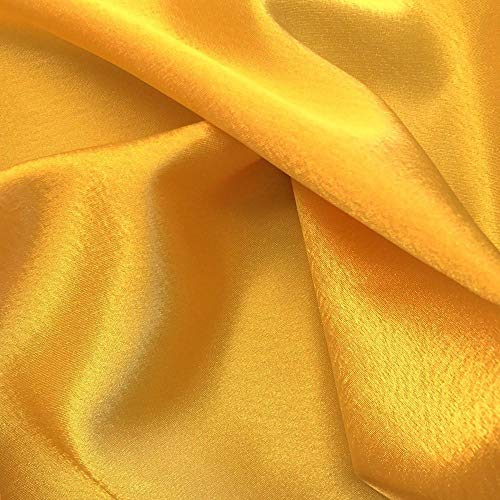"""mds Pack of 1 Yard Charmeuse Bridal Solid Satin Fabric for Wedding Dress Fashion Crafts Costumes Decorations Silky Satin 44"""" Yellow Gold"""
