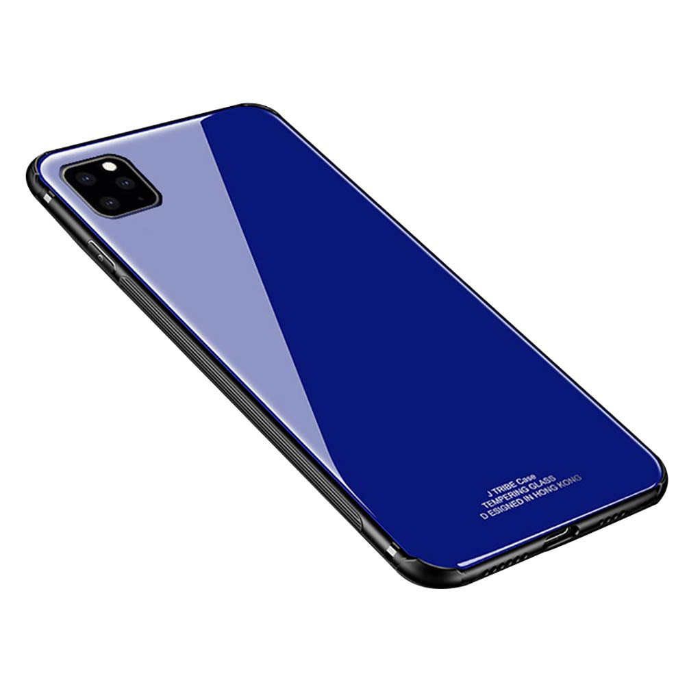 Anyos Compatible iPhone 11 Pro Case, Ultra-Thin Tempered Glass Pattern Painted Back Cover + Soft TPU Bumper Full Body Shockproof Protective Case 5.8 inch, Blue