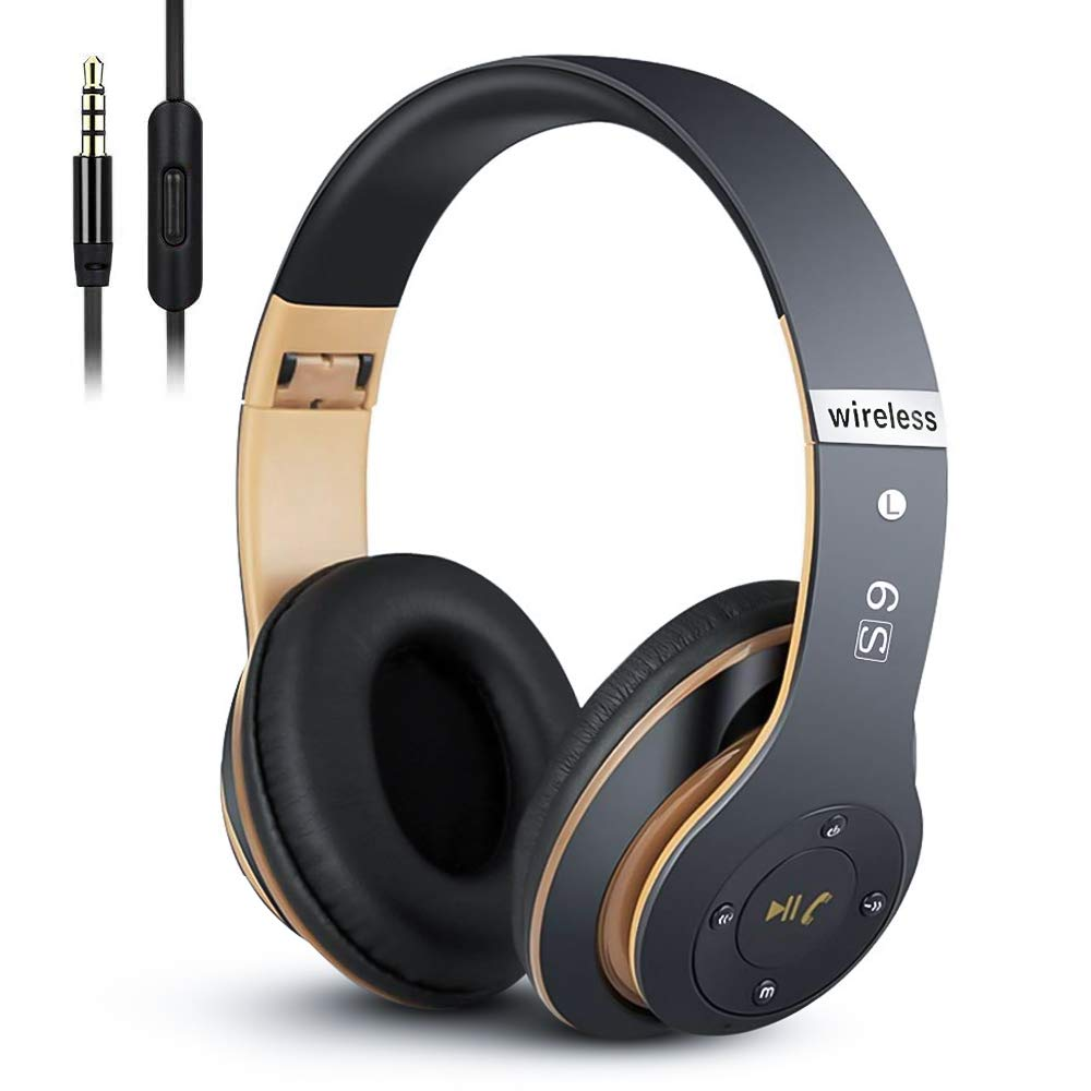 Bluetooth Headphones Over Ear, PRTUKYT Hi-Fi Stereo Wireless and Wired Stereo Headset, Built-in Microphone, Foldable, with Wired Mode, for Online Class, Home Office, PC, Cell Phones, TV(Black & Gold)