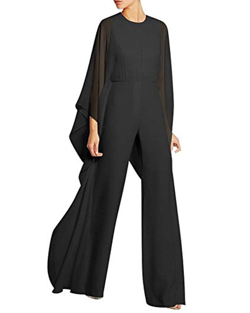 UONBOX Women's Round Neck Long Sleeve Mesh Flapper Wide Leg Pants Cocktail Night Party Jumpsuit