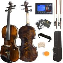 Mendini MV500+92D Flamed 1-Piece Back Solid Wood Violin with Case, Tuner, Shoulder Rest, Bow, Rosin, Bridge and Strings (Size: 4/4 (Full Size))