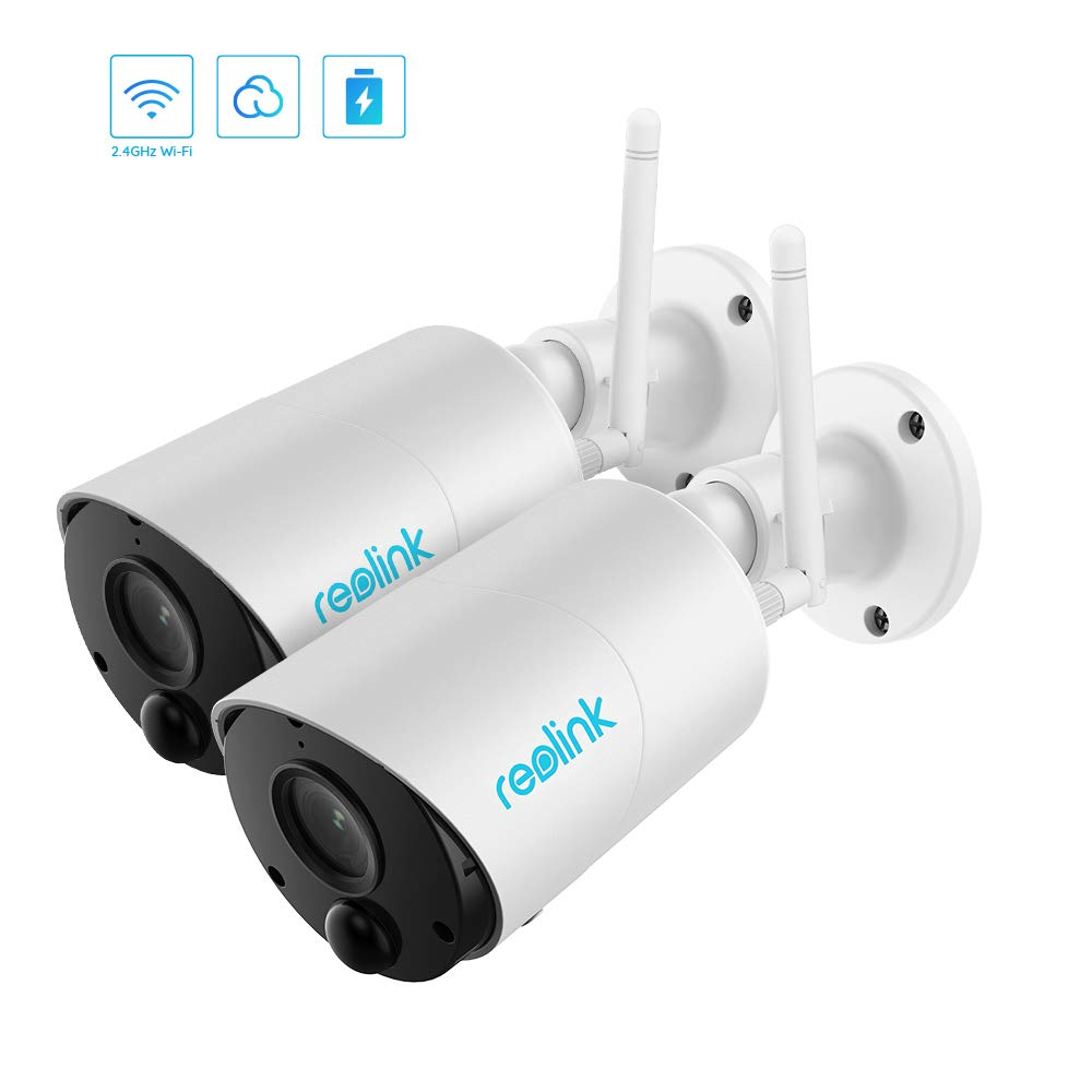 Wireless Outdoor Security Camera, Rechargeable Battery-Powered WiFi Camera, 1080p HD Night Vision, Waterproof, 2-Way Audio, Work w/Alexa/Google Assistant/Cloud/Local SD, Reolink Argus Eco (2 Pack)
