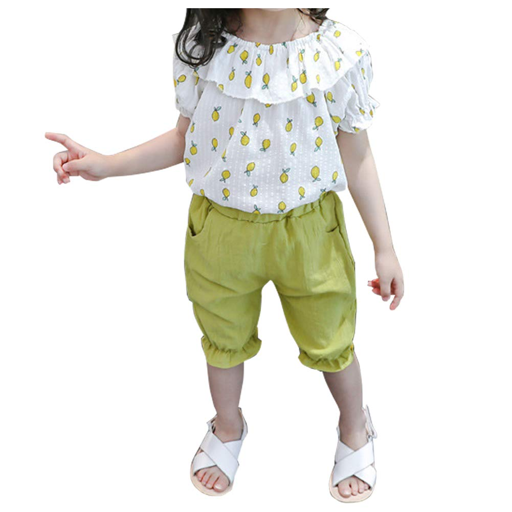 Little Girls Sleeveless Layered Floral Tank Tops Solid Shorts Ruffled Summer Clothes Outfits Kids Tiered 2Pcs Sets 2-7T