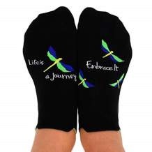 Toe Talk Life is A Journey - Embrace IT Non Slip Grip Socks, Ideal for Pilates, Yoga, Barre, Tai Chi, Dance, Meditation, Mindful Living