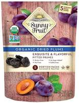 ORGANIC Prunes - Sunny Fruit - (5) 1.06oz Portion Packs per Bag   Purely Dried Plums - NO Added Sugars, Sulfurs or Preservatives   NON-GMO, VEGAN & HALAL