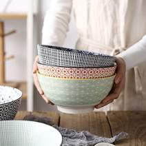 Salad Soup Ramen Bowl, DeeCoo 55 OZ Super Large Stackable Round Fine Porcelain Cereal Pasta Serving Bowl Sets, 3 Pack -Large Capacity Microwavable Ceramic Bowls - Heat and Cold Resistant Porcelain