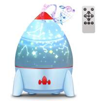 Esonstyle Musical Night Light,360 Rotating Star Lamp Rocket Projection Lamp Baby Musical Lamp with Rechargeable Battery,4 Music Rotating Remote Control and Timer Design Lamp