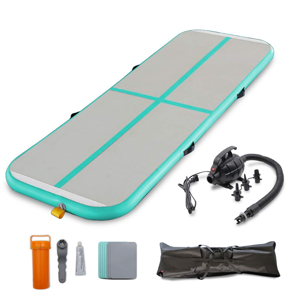 SAYOK Gymnastics Air Mat Tumble Track Tumbling Mat Inflatable Floor Mats with Electric Air Pump for Home Use/Tumble/Gym/Training/Yoga/Beach/Water