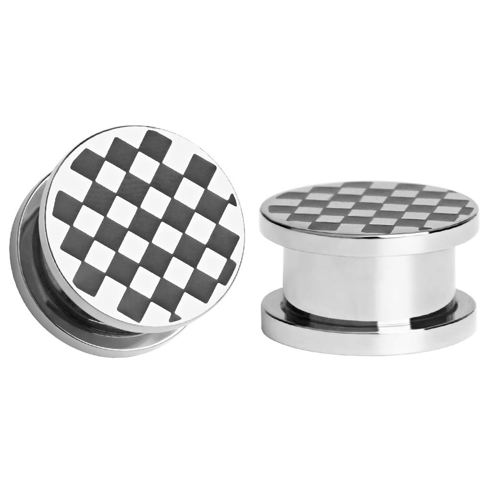 TBOSEN Stainless Steel Ear Plugs Black Grid Gauges Stretching Screw Fit Tunnels Expander Piercing Jewelry Sold As a Pair